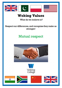 Woking College Values Mutual Respect