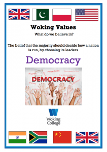 Woking College Values Democracy